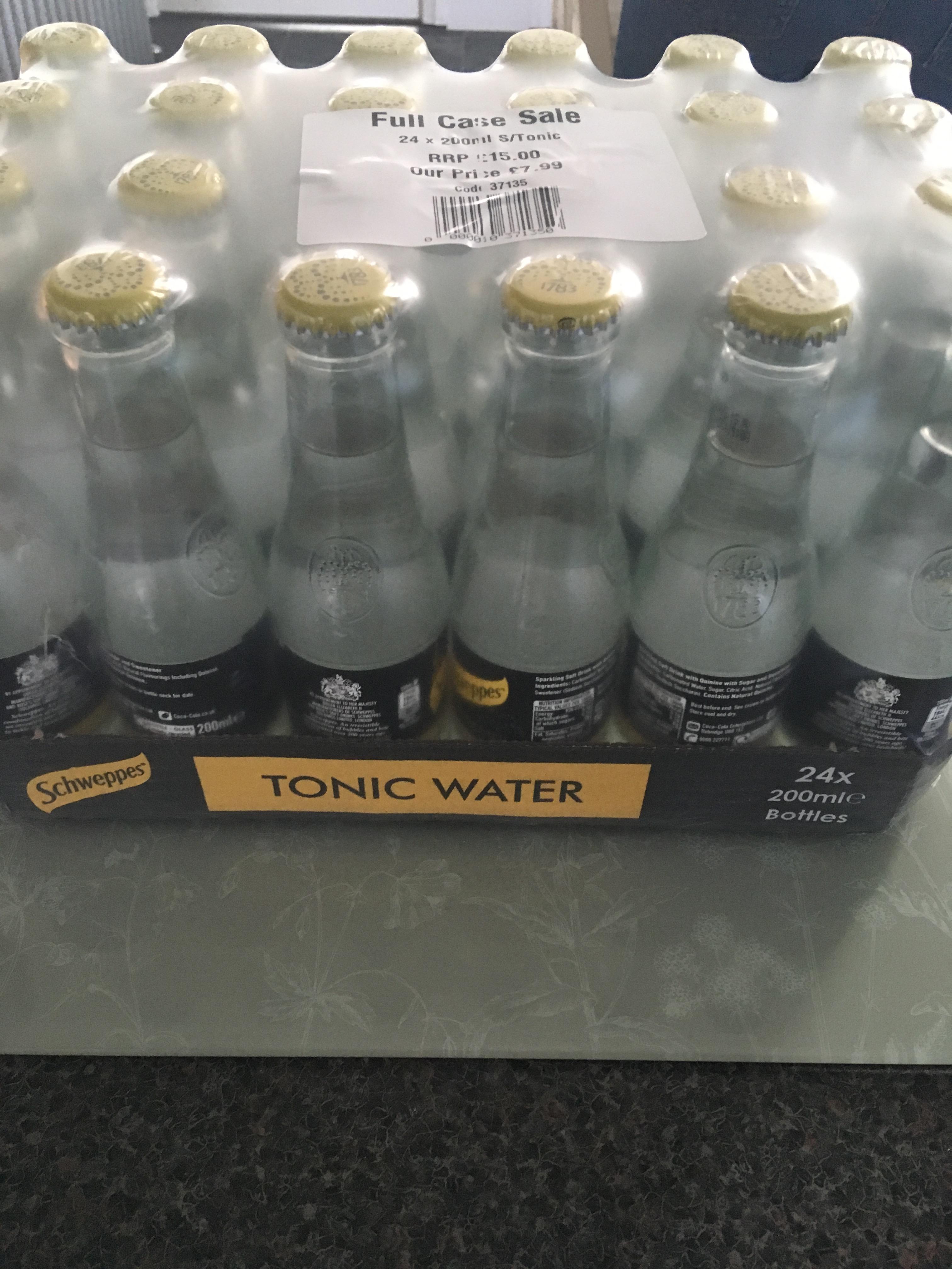 Schweppes Tonic 200ml Bottles x 24 case 7.99 instore Home Bargains