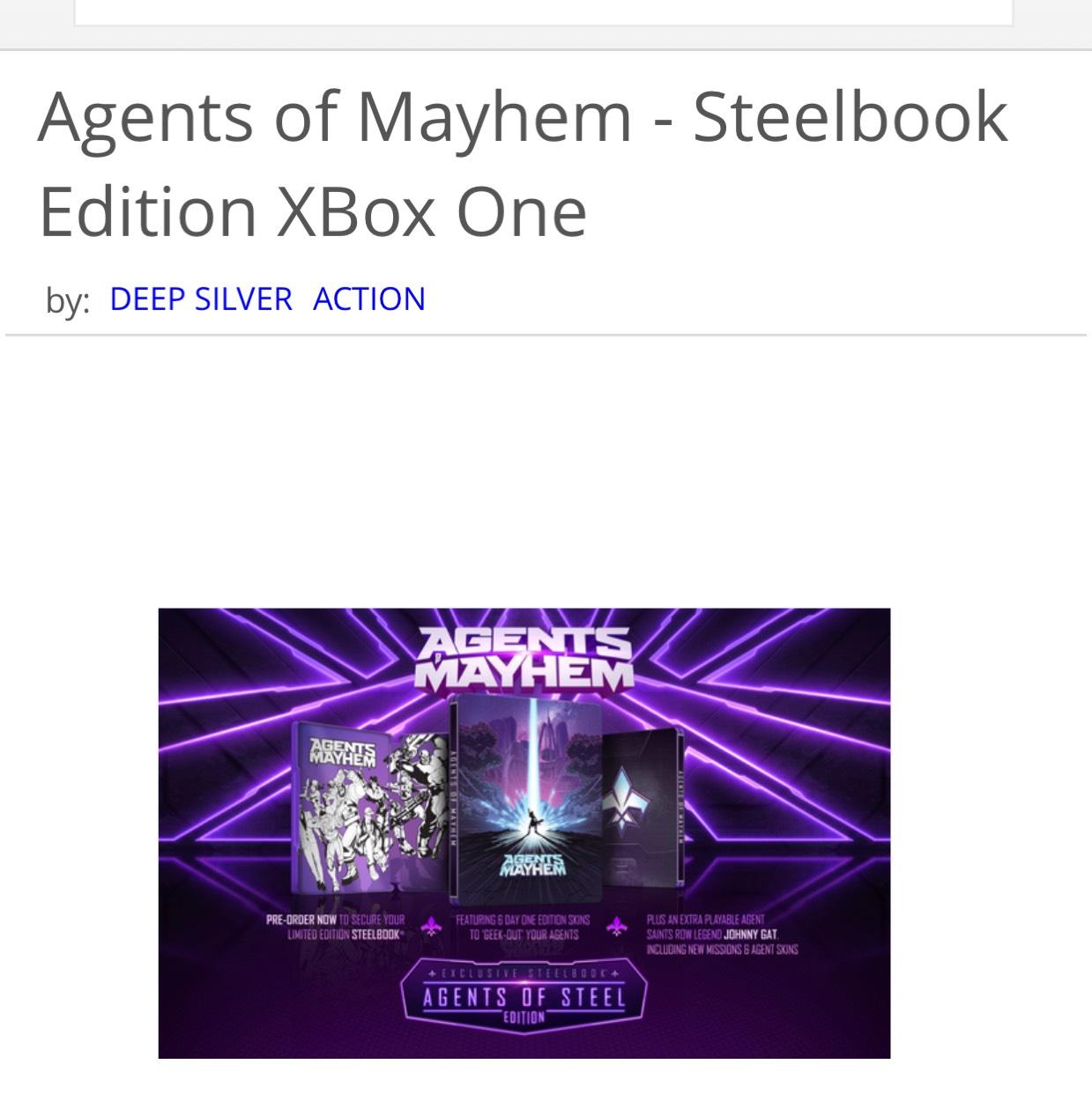 Agents of mayhem Xbox one steel book edition £9.85 @ Shopto