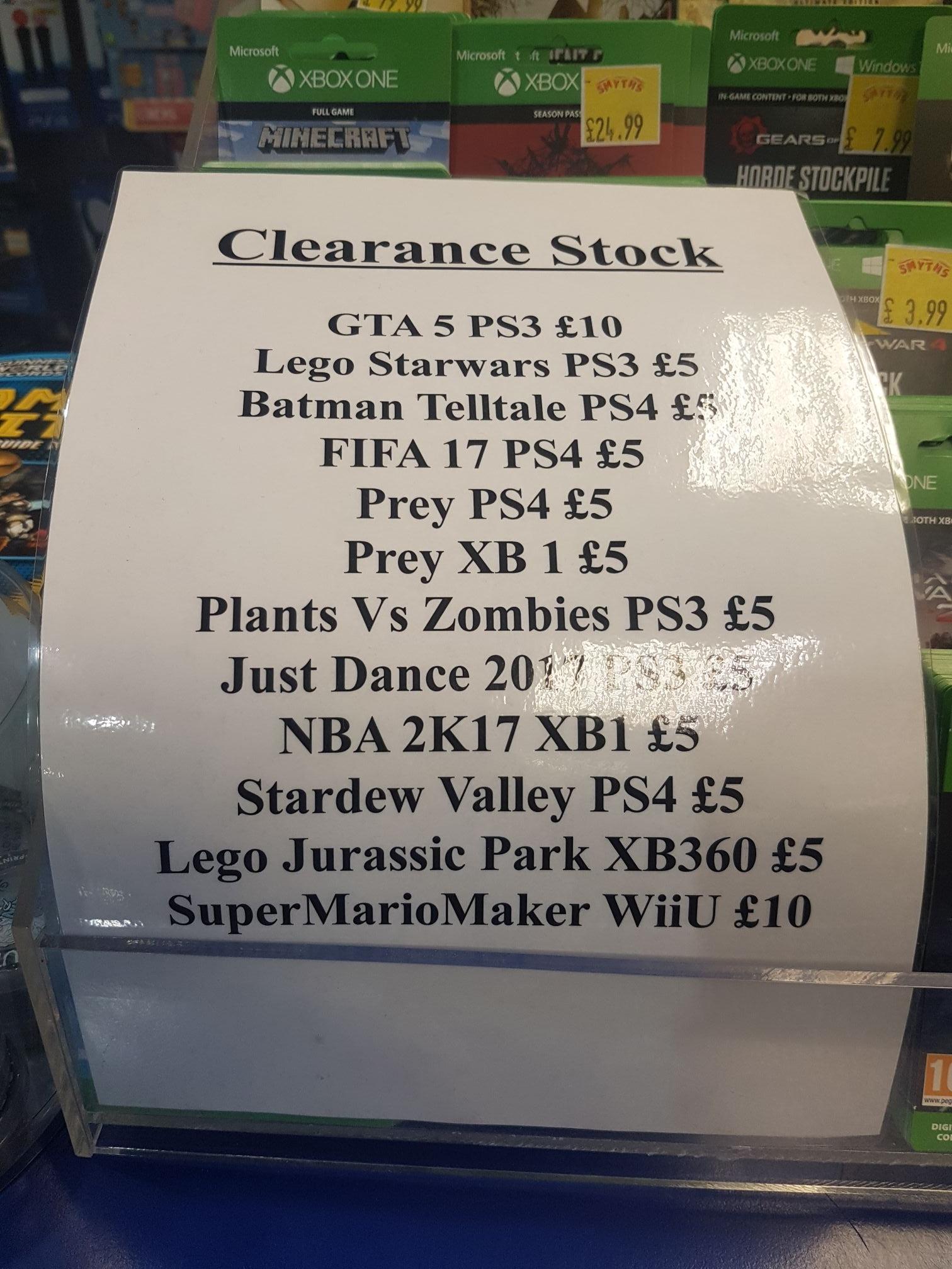 Smyths toys games clearance list.