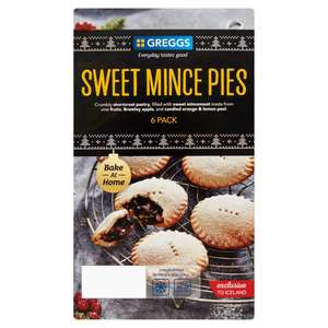 Greggs Bake at Home 6 Sweet Mince Pies only 35p @ Iceland