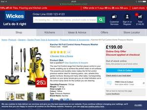 Karcher K4 Full control home pressure washer for £149.25 at Wickes