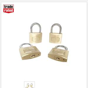 SMITH & LOCKE BRASS 40MM PADLOCK 4 PACK £8.99 @ Screwfix