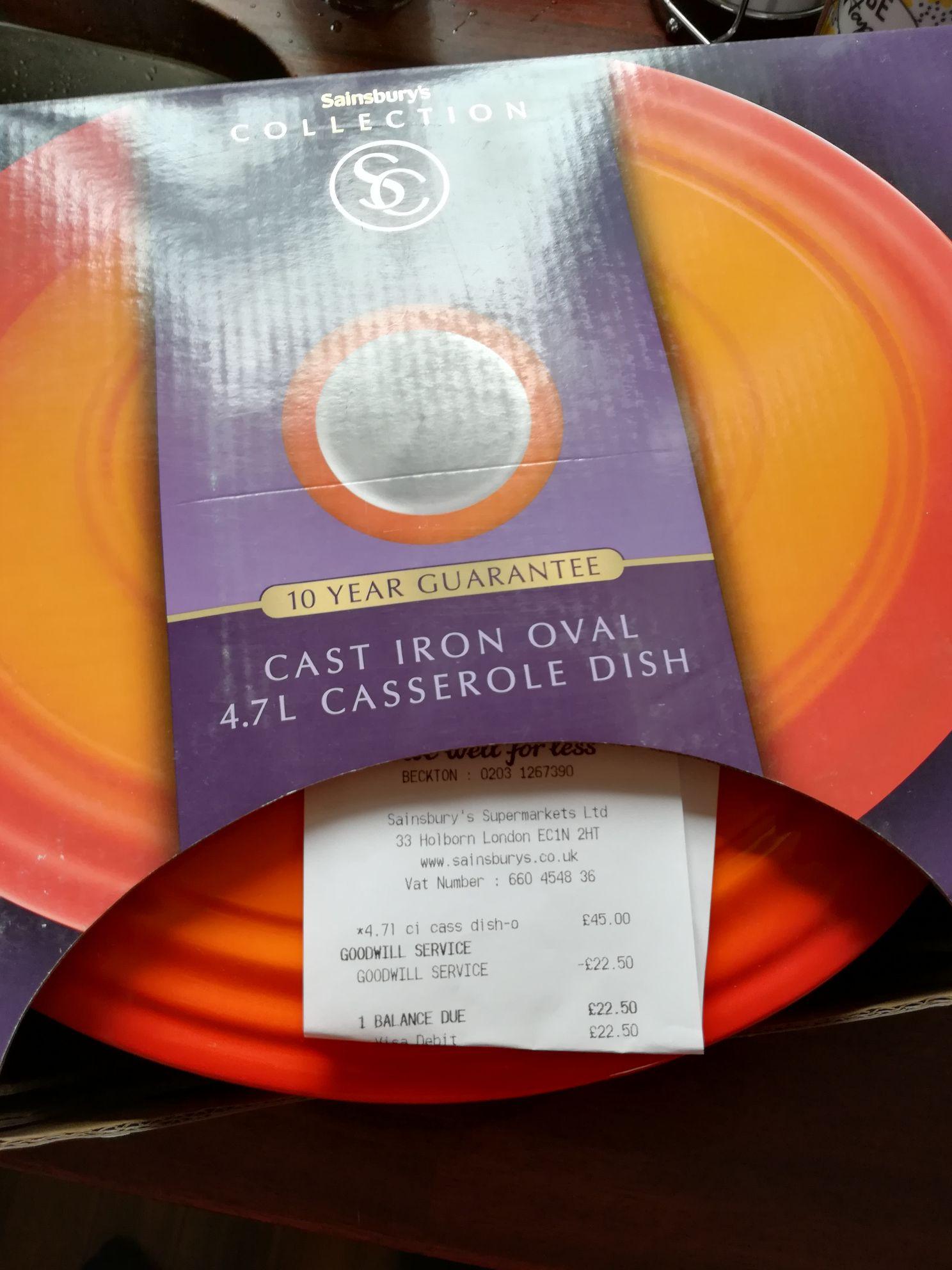 50% off Cast iron oval 4.7l casserole dish £22.50 Sainsbury's Beckton