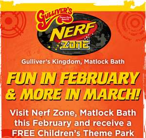 Free Gulliver's Kingdom Theme Park (Matlock Bath) Kid's Ticket issued with £7 Kid's Nerf Zone Ticket During Half Term (see OP)