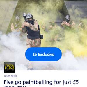 5 go Paintballing for just £5 (@ Delta Force Paintball) via 02 Priority (RRP £70)