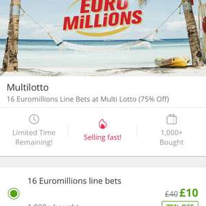 16 EuroMillion line bets for £10 - Multilotto/Groupon