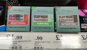 Derma V10 clays masks- Brightening, Detoxifying & Purifying £1.99 @ Home Bargains