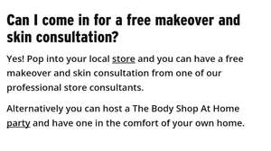 Free Makeover & Samples from The Body Shop