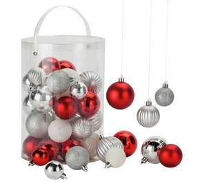 50 Piece Bauble Pack - Red, White and Silver - £1.99 @ Argos