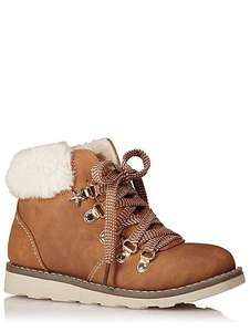 Faux fur trim hiker boots -older child sizes 1,3,4 was £17 now £9 @ asdageorge