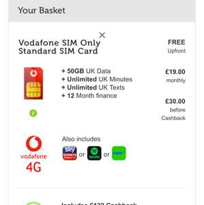 Vodafone 50GB data only for £30 pm for 12m (£19 after cashback) including Sky sports or Spotify or Now TV @ Mobile Phones Direct (via Techradar)