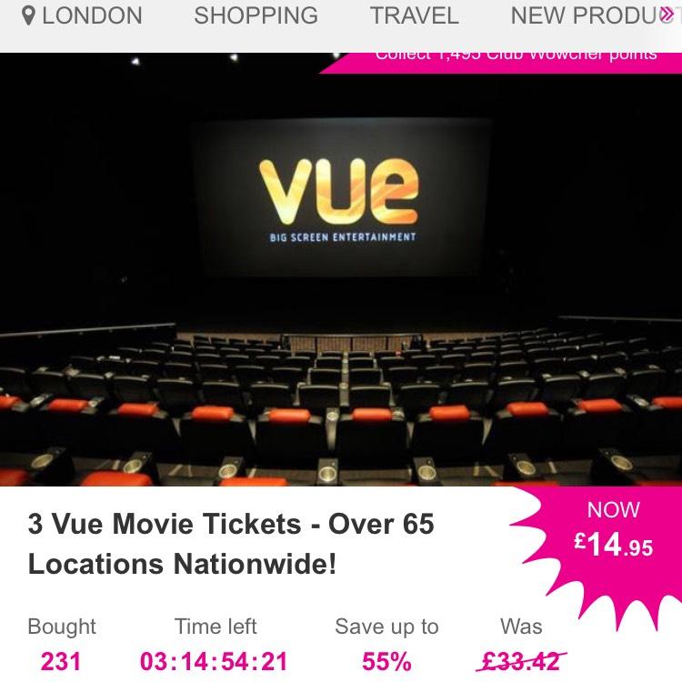 3 X Vue cinema tickets £14.95 at Wowcher