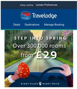 300,495 hotel rooms from £29 @ Travelodge Spring breaks till 31st May book quickly! + An extra 5% off with Newsletter sign up