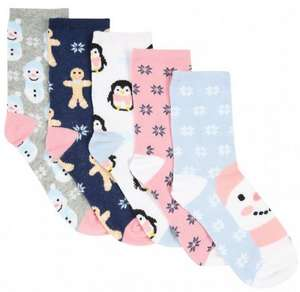 5 pack of penguin\ snowman socks ,shoe size 9-12 now £3 @ peacocks
