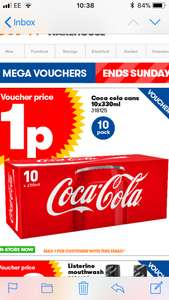 Coca Cola 10 pack of 330ml cans £0.01 £5 min spend at JTF