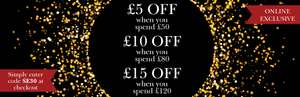£5 off £50  £10 off £80 £15 off £120 Spend with code SE30 @ Scotts of Stow