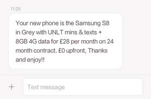 EE retention deal for Samsung S8 £28 per month 8G data unlimited call and text for 24 month No upfront costs - £672