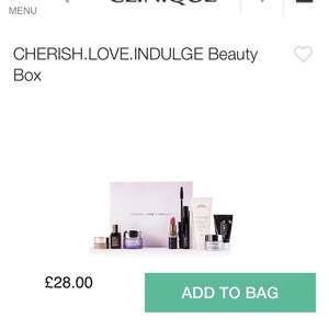 Cherish love beauty box Clinique, Estée Lauder, Bobbi Brown, MAC, Aveda, Glamglow £28 @ Clinique