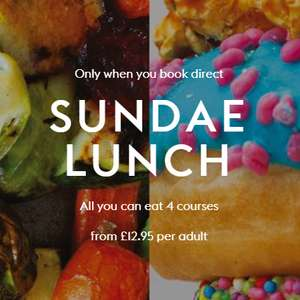 4 Course All you can eat Sunday Lunch inclu mega ice cream sundae + Kids Eat Free from £12.95 @ Village Hotels (Works out 2A/2C from £6.48pp)