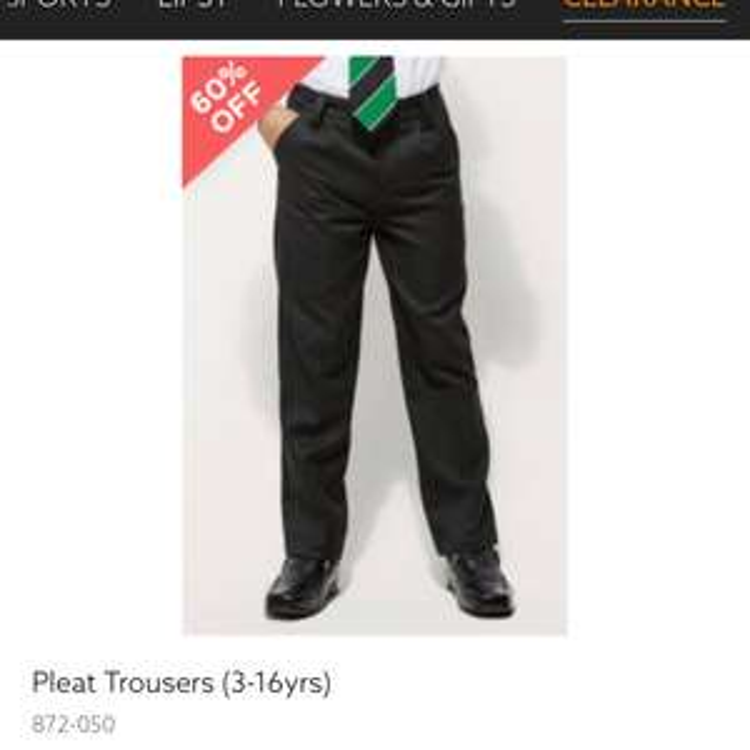 Next boys black pleated school trousers £3 in clearance sale online
