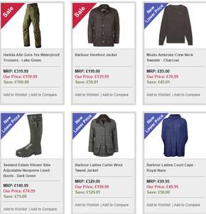 Country/Shooting/Fishing clothing sale at John Norris of Penrith