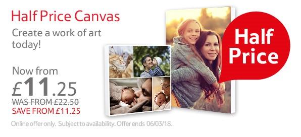 Half price canvas prints at Tesco Photos