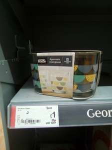 4 pack of geometric design glasses £1 @ Asda instore (Ellesmere Port)