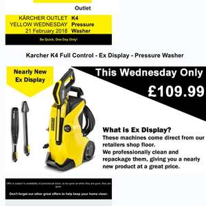 Karcher K4 - full control - ex display £109.99 Wednesday only. @ karcher outlet