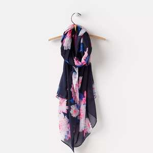 Joules 124755 Womens Wensley Scarf in French Navy Nautical Posy in One Size £6.95 @ Joules Ebay