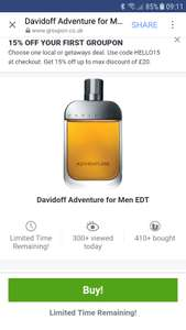 Davidoff  EDT 50ml £14.97 delivered @ Groupon