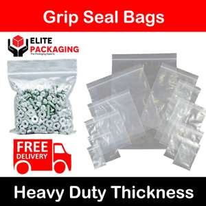 Resealable Food Safe Push Close Grip Lock Bags +10% Off At Checkout - 89p elite-packaging / Ebay