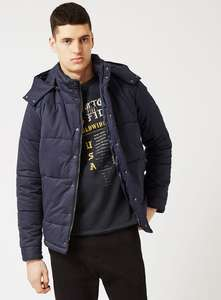 Navy Hooded Puffer Jacket £20 free C&C @ Topman