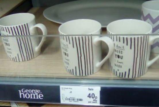 Mugs reduced to 40p instore @ Asda, E.Port
