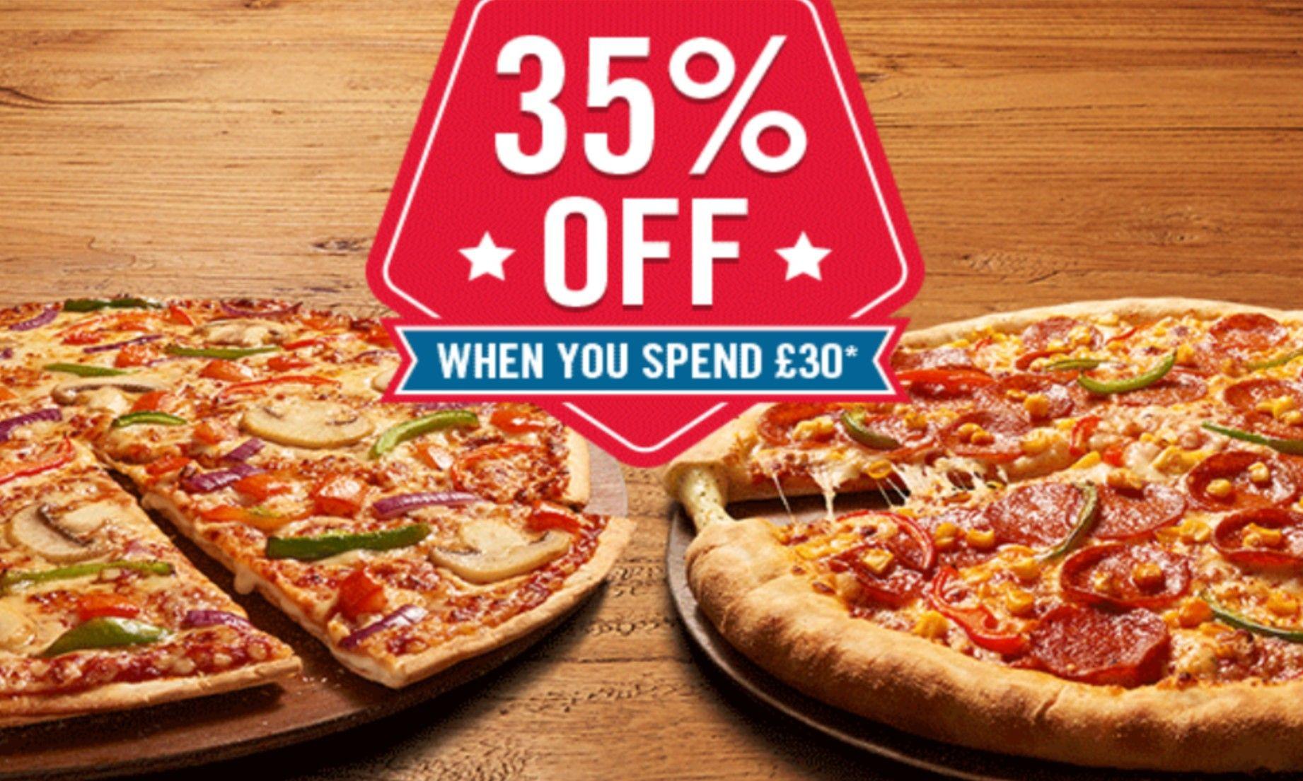 35% off when spending £30 @ Dominoes