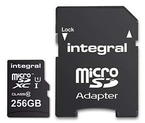 Integral 256 GB microSDXC Class 10 Memory Card for Smartphones and Tablets, Up to 90 MB/s, U1 Rating £87.00 Dispatched from and sold by Amazon