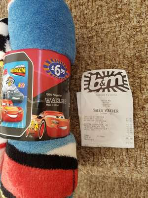 Lightning Mcqueen fleece blanket £1.99 @ B&M
