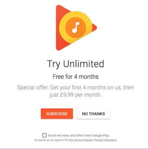 4 Months Google Play Music for FREE
