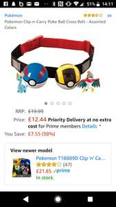 Pokemon Clip-n-Carry Poke Ball Cross Belt - Assorted Colors at Amazon £12.44 @ Amazon - Prime exclusive