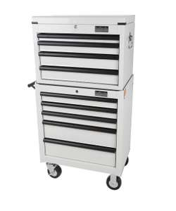 Halfords industrial  white 4 drawer tool chest and 5 drawer roll cab £244 with code