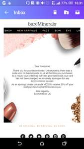 Bare Minerals 20% all products using code MC20