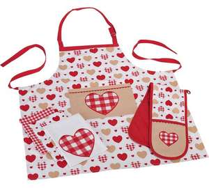 5 piece kitchen set ( 3 tea towels + double oven glove + apron ) now £6.99 @ Argos
