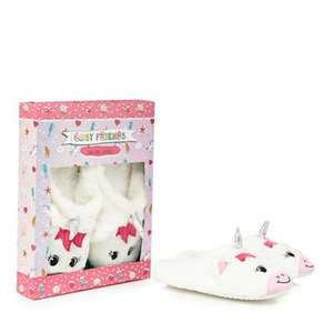 Cosy Friends - White faux fur unicorn slippers or Pug Slippers + £2 C&C or £3.49 Delivered at Debenhams