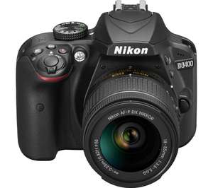 NIKON D3400 DSLR Camera with 18-55 mm f/3.5-5.6 Zoom Lens - Black, witth £100 discount code from PCWORLD, use code NIKD100  on checkout - £354