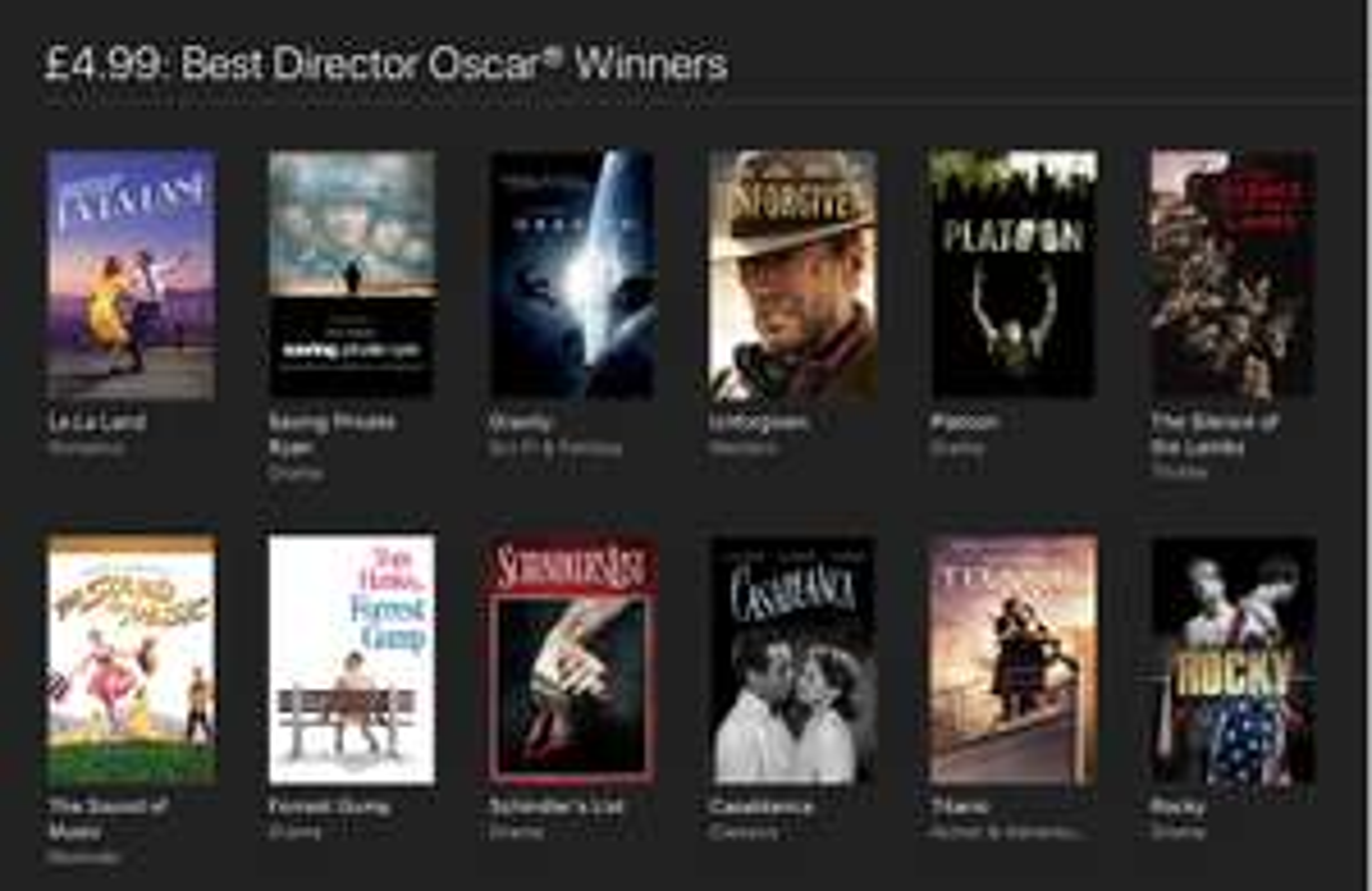 Best Director Oscar Winners on iTunes, 58 in total - £4.99 each