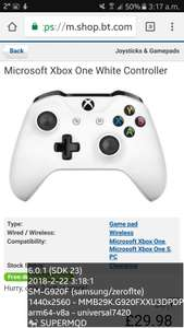 Microsoft Xbox One White Controller £29.98 @ BT SHOP