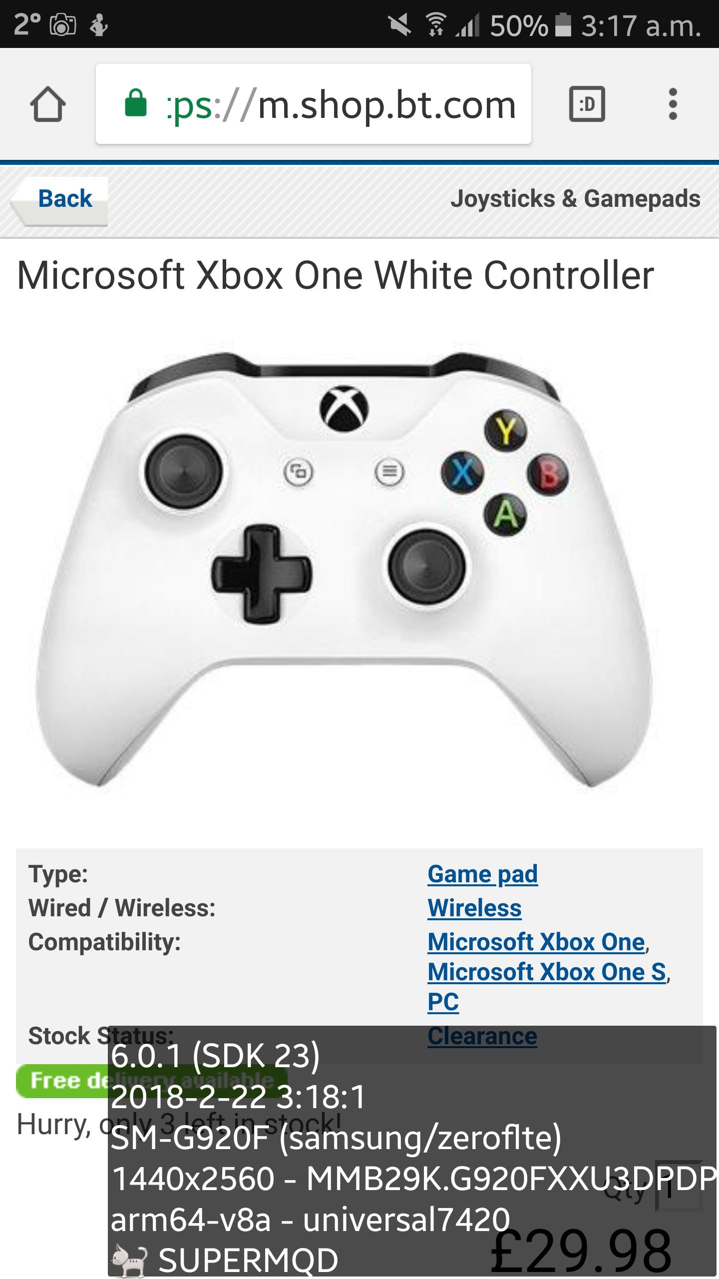 Microsoft Xbox One White Controller £29.98 @ BT SHOP