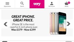 iPhone SE 32GB £299 - 128GB £399 (12m 0% available) @ Very