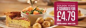 2 Courses for £4.79 @ Sizzling Pubs (For the 60+)