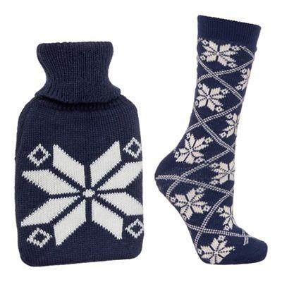 Lounge & Sleep-Navy hot water bottle and socks set + £2 C&C or £3.49 Delivered - Debenhams