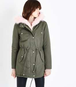 Newlook Sale Parisian Khaki Faux Fur Hooded Parker Jacket Hooded Coat £10 (+ £3.99 delivery) @ New Look